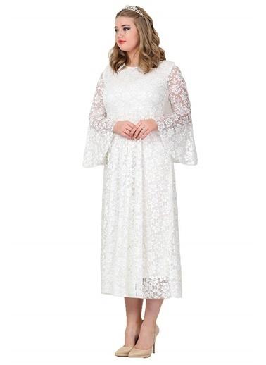 Angelino Butik Büyük Beden Kolları Volanlı Komple Dantel Elbise KL791 Beyaz